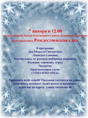 7 января на территории Храма благоверного князя Димитрия Донского г. Пензы пройдет Рождественская елка