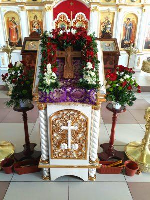 Празднование Происхождения (изнесения) Честных Древ Животворящего Креста Господня в Димитриевском храме Каменки