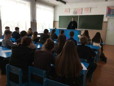 В селе Чаадаевка состоялась встреча священника с учащимися местной общеобразовательной школы