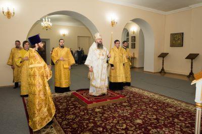 В канун Недели перед Богоявлением митрополит Серафим совершил всенощное бдение в Воскресенском храме при епархиальном управлении